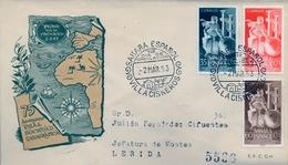 1953 , SAHARA ESPAÑOL , SOBRE DE PRIMER DIA , ED  101 / 103 , 75º ANIV. DE LA REAL SOCIEDAD GEOGRÁFICA - Sahara Español