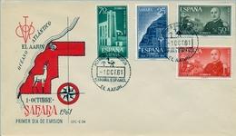1961 , SAHARA ESPAÑOL , SOBRE DE PRIMER DIA , ED  193 / 196 , XXV . ANIV. EXALTACIÓN DE FRANCO A LA JEFATURA DEL ESTADO - Sahara Español