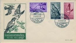 1958  , SAHARA ESPAÑOL , SOBRE DE PRIMER DIA , ED  153 / 155 , DIA DEL SELLO , AVES - Sahara Español