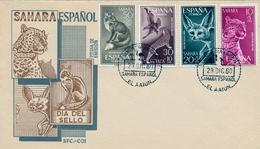 1960  , SAHARA ESPAÑOL , SOBRE DE PRIMER DIA , ED  176 / 179 , DIA DEL SELLO , FAUNA - Sahara Spagnolo