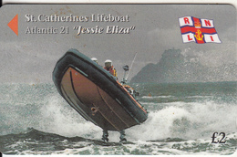 "JERSEY ISL. - St.Catherine""s Lifeboat/Atlantic 21 ""Jessie Eliza"", CN : 46JERA(normal 0), Tirage %25000, Used - United Kingdom"