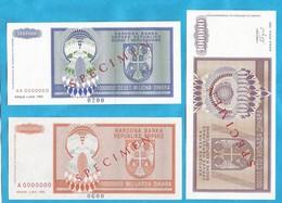 1993  SPECIMEN  3  STUECK    RRR   SEHR SELTEN  BOSNIA REPUBLIKA SRPSKA BANJA LUKA LUX - Bosnië En Herzegovina