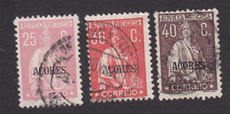 Azores, Scott #195, 200, 202, Used, Ceres Overprinted, Issued 1912 - Açores
