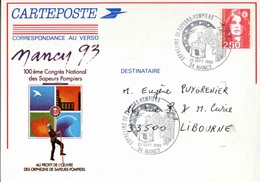 """Entier Postal De 1992 Sur CP Avec Timbre """"2,50 Marianne De Briat"""" Et Repiquage Commémoratif - Entiers Postaux"""