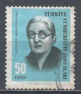 Turkey 1966. Scott #1696 (U) Halide Edip Adivar, Writer * - 1921-... République