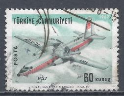 Turkey 1967. Scott #C40 (U) Fokker Friendship Transport Plane * - 1921-... République