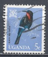 Uganda 1965. Scott #97 (U) Black Bee-eater Bird * - Ouganda (1962-...)