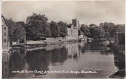 MAIDSTONE - ALL SAINTS CHURCH @ RIVER FROM TOWN BRIDGE - England