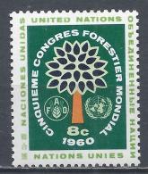 United Nations 1960. Scott #82 (M) Tree, FAO & Emblem, World Forestry Congress * - New-York - Siège De L'ONU