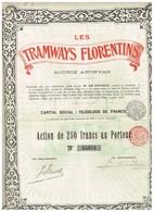 Action Ancienne - Les Tramways Florentins - Titre De 1908 - Railway & Tramway