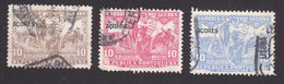 Azores, Scott #RA5, RA7-RA8, Used, Postal Tax Overprinted, Issued 1925 - Azores