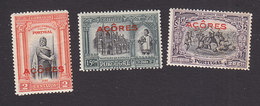 Azores, Scott #258, 263-264, Mint Hinged, First Independence Overprinted, Issued 1926 - Azores