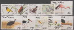 TANZANIA - 1990-91 Ten Different Used BIRDS. - Tanzania (1964-...)