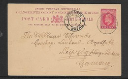 Natal EVIIR Postal Card, 1d, Used, LUNEBURG NATAL AP 6  12 > LADYSMITH NATAL 7 APR 12, PAULPIETERSBURG Transit - Afrique Du Sud (...-1961)