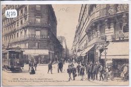 PARIS III- LE TRAMWAY RUE TURBIGOT A LA RUE DU VERT-LOUIS- SORTIE DES BIEVRES DE L ECOLE TURGOT DEVANT CAFE ESPERANCE - Arrondissement: 03