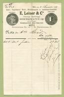 """METZ  1895 : """" TAPISSERIE  E. LEISER & Cie, Römerstrasse N° 13 """" - France"""