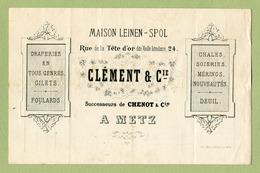 """METZ  1895 : """" DRAPERIE  CLEMENT & Cie, Rue De La Tête D'Or, 24 """" - France"""