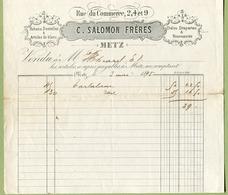 "METZ  1895 : "" MERCERIE  C. SALOMON Frères, Rue Du Commerce N°2, 4,et 9 "" - France"