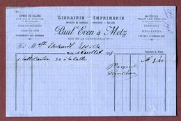 """METZ  1895 : """" LIBRAIRIE IMPRIMERIE  PAUL EVEN, Rue De La Cathédrale N° 1"""" - 1800 – 1899"""