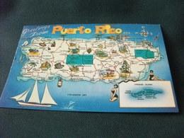 Carta Geografica Puerto Rico Vieques Island Pin Up Rum - Carte Geografiche