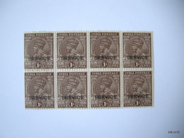 INDIA 1912. King George V. Block Of 8 1A Stamps, Optd SERVICE. SG O111. MNH. - India (...-1947)