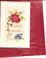 CPA BRODEE  Amitié Sincère  ( Carte Envoyée En Creuse Voir Adresse Au Verso ) Réf 4440 - Brodées
