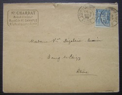 1878 Rhône (LYO780): Daguin De LYON / LES TERREAUX - LYON TERREAUX Sur Lettre De Maître Charrat Avoué - Marcophilie (Lettres)
