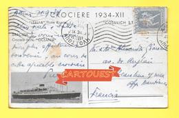 "CPA NAVI - CROCIERE 1934 - ""ITALIA"" FLOTTE RIUNITE - CROCIERA M.N. ""OCEANIA"" - Piroscafi"
