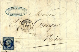 1862-RARE  Lettre De MARSEILLE / BAT. A VAPEUR  Pour Nice Affr. N°14 Oblit. P C 4226 - Marcophilie (Lettres)