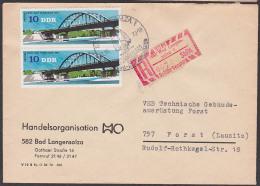 DDR  Bad Langensalza SbPA , R-Bf DDR C2 G82-1 T2 Nach Forst, Selbstbedienungs-R-Zettel Zebrastreifen HO Brücke Templin - DDR