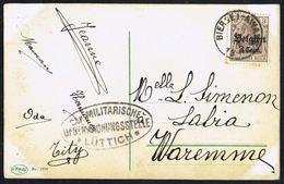 """COB OC 11  Sur CP De BIERSET Vers WAREMME - Oblitération: """" BIERSET-AWANS - 11-IX-1917"""" - Cachet De Censure. - Guerre 14-18"""