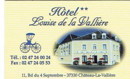 Carte De Visite De L'Hôtel Louise De La Vallière (maîtresse De Louis XIV), Château La Vallière (2015) - Cartes De Visite