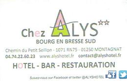 Carte De Visite De L'Hôtel Chez Alys, Bourg En Bresse Sud (vers 2015) - Cartes De Visite