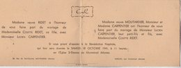VP12.557 - MONTMIRAL X VERDON 1941 - Généalogie - Faire - Part De Mariage De Mr CARPENTIER & Melle RIDET - Wedding
