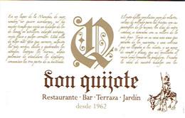 Carte De Visite Dépliante Du Restaurant Bar Don Quijote, Platja D'Aro (vers 2014) - Cartes De Visite