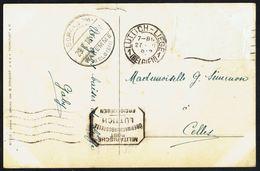 """CP Ayant Voyagé De LIEGE Vers CELLES - Oblitération: """" LÜTTICH 1 - 27-VII-1918 """" - Cachet De Censure Allemand. - Postmark Collection"""
