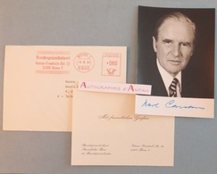 Karl CARSTENS 1981 Ex Président Du Bundestag & RFA Allemagne - Bonn - Brême - Photo Signature Autographe > France CDU - Autographes