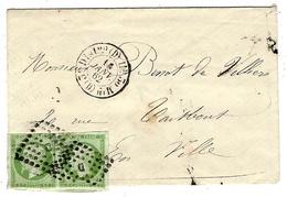 1862- Enveloppe Carte De Visite De Paris  Affr. Paire 5 C N° 12 Oblit. Losange D Bâton Cad 1520  Pour Paris - 1849-1876: Période Classique