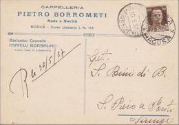 Ragusa - MODICA - Cartolina Commerciale Pubblicitaria Cappelleria Pietro Borrometi -Esclusivista Cappelli Borsalino-1937 - Modica