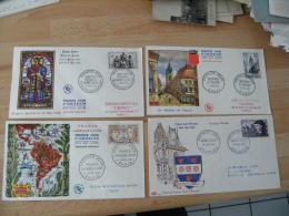 1956 Lot De 4 Fdc France Amerique  Latine Jacques Coeur Douai Et Saint Yves Enveloppe 1 Er Jour - 1950-1959