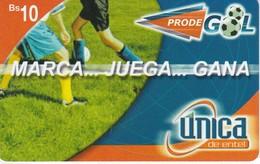 TARJETA DE BOLIVIA DE MARCA-JUEGA Y GANA DE UNICA Bs10 (FUTBOL-FOOTBALL) - Bolivia