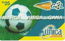 TARJETA DE BOLIVIA DE MARCA-JUEGA Y GANA DE UNICA Bs25 (FUTBOL-FOOTBALL) - Bolivia