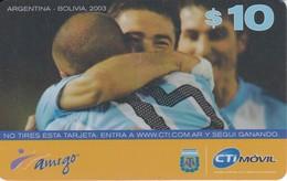 TARJETA DE ARGENTINA DE FUTBOL (FOOTBALL)  ARGENTINA-BOLIVIA  2003 - Argentina