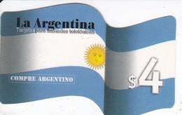TARJETA DE ARGENTINA DE LA BANDERA NACIONAL DE $4 - COMPRE ARGENTINO - Argentina