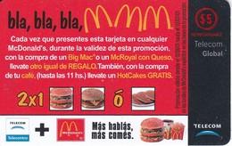 TARJETA DE ARGENTINA DE TELECOM DE Mc DONALDS DE 5$ - Argentina
