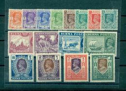 Britische Kolonie Burma, König + Landschaften, Mi.-Nr. 19 - 34 Postfrisch ** - Burma (...-1947)