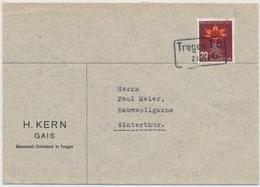 J123 / 490 Einzelfrankatur Auf Firmen Brief H. KERN, GAIS, BAUMWOLL-ZWIRNEREI Gestempelt Mit Bahnpoststempel TROGEN T.B - Pro Juventute
