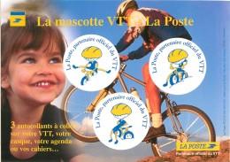 VELO - 3 AUTOCOLLANTS A COLLER SUR VOTRE VTT, CASQUE Ou AGENDA..... - LA MASCOTTE VTT LA POSTE - Cartoline
