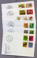 Switzerland Helvetia Suisse Schweiz 1967 - 1984 6 FDC S Pro Juventute Collection Birds Flowers Animals Toys Fairy Tales - Pro Juventute