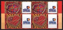 PERS 13 - FRANCE N° 3861A/62A  2 Paires De Coeurs Scherrer  Logo Timbres Personnalisés - France